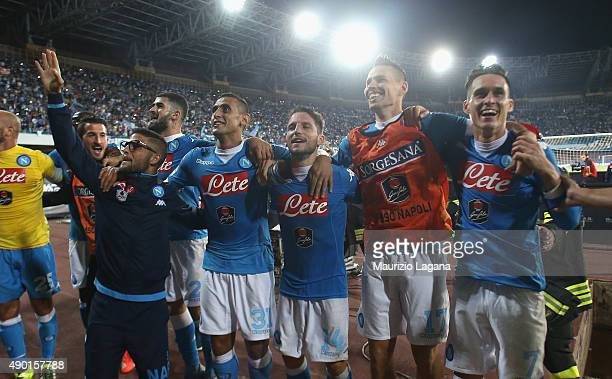 Players of Napoli celebrate after the Serie A match between SSC Napoli and Juventus FC at Stadio San Paolo on September 26 2015 in Naples Italy