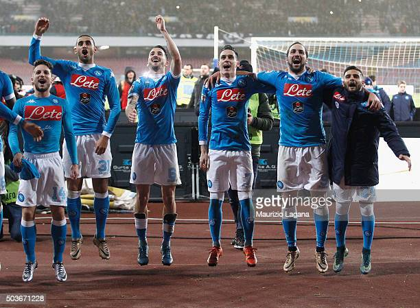 Players of Napoli celebrate after the Serie A match between SSC Napoli and Torino FC at Stadio San Paolo on January 6 2016 in Naples Italy
