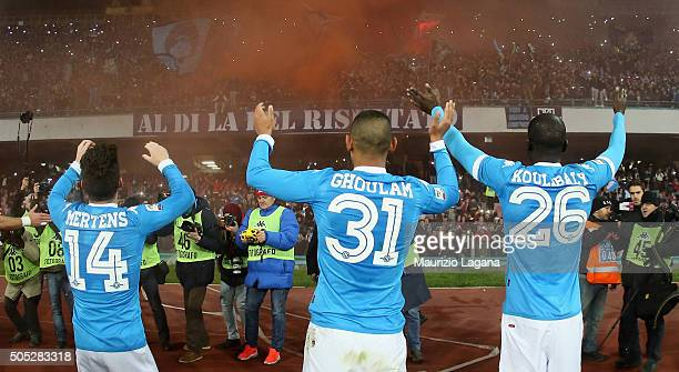 Players of Napoli celebrate after the Serie A match between SSC Napoli and US Sassuolo Calcio at Stadio San Paolo on January 16 2016 in Naples Italy