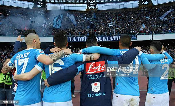 Players of Napoli celebrate after the Serie A match between SSC Napoli and Carpi FC at Stadio San Paolo on February 7 2016 in Naples Italy