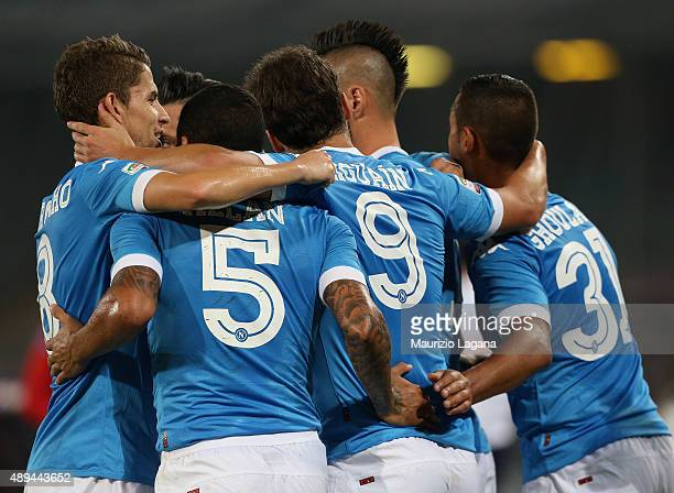 Players of Napoli during the Serie A match between SSC Napoli and SS Lazio at Stadio San Paolo on September 20 2015 in Naples Italy