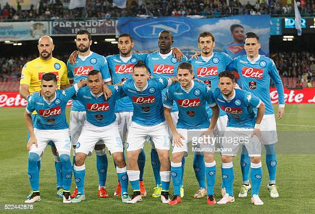 Players of Napoli pose for photo prior the Serie A match between SSC Napoli and Bologna FC at Stadio San Paolo on April 19 2016 in Naples Italy