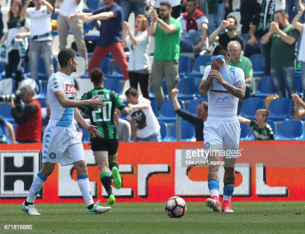 Players of Napoli show their dejection during the Serie A match between US Sassuolo and SSC Napoli at Mapei Stadium Citta' del Tricolore on April 23...
