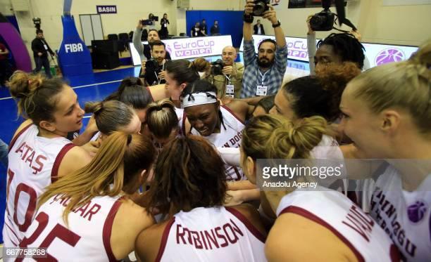 Players of Near East University celebrate after wining the EuroCup Women basketball match between Near East University vs Bellona AGU at Caferaga...