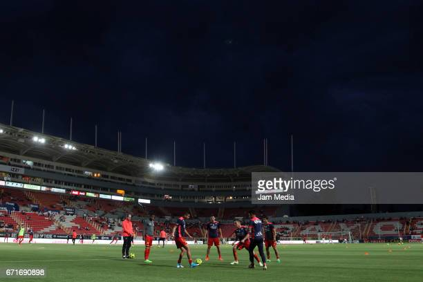 Players of Necaxa warm up prior the 15th round match between Necaxa and Morelia as part of the Torneo Clausura 2017 Liga MX at Victoria Stadium on...
