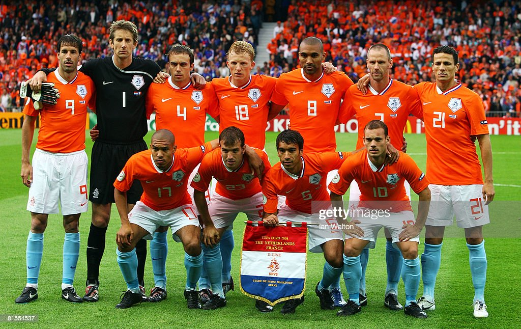 Players of Netherlands line up prior to the UEFA EURO 2008 Group C match between Netherlands and France at Stade de Suisse Wankdorf on June 13 2008...