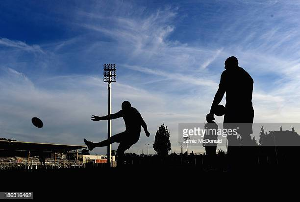 Players of New Zealand prctice their kicking during a New Zealand training session at the Parc des Sports Stadium on October 30 2013 in Avignon France