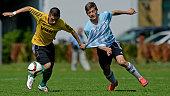 Players of Niedersachsen und Rheinland battle for the ball during the U15 Federal Cup at Sport School Wedau on June 30 2015 in Duisburg Germany