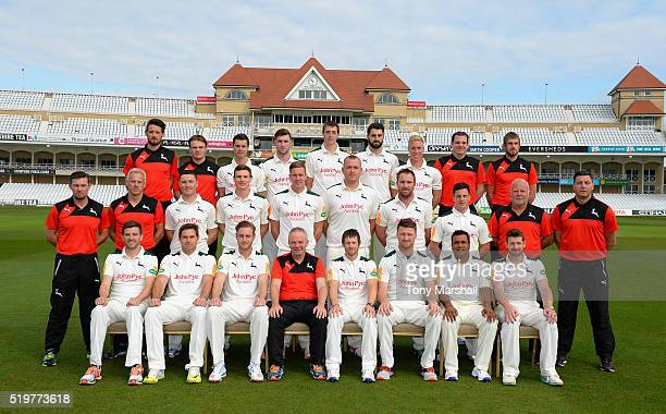 Players of Nottinghamshire CCC poses for a team photograph during the Nottinghamshire CCC Photocall at Trent Bridge on April 8 2016 in Nottingham...