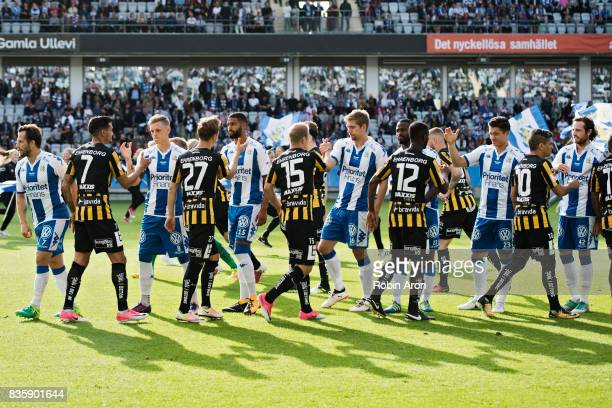 Players of of IFK Goteborg and of BK Hacken before the Allsvenskan match between IFK Goteborg and BK Hacken at Gamla Ullevi on August 20 2017 in...