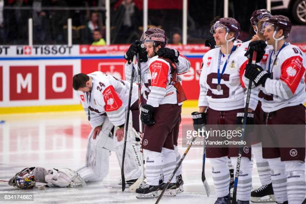 Players of of the Sparta Prague is dejected after losing the Champions Hockey League Final between Frolunda Gothenburg and Sparta Prague at...