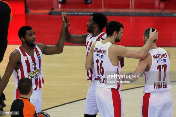 Players of Olympiacos react after the final whistle during the 2017/2018 Turkish Airlines EuroLeague Regular Season Round 8 game between Olympiacos...
