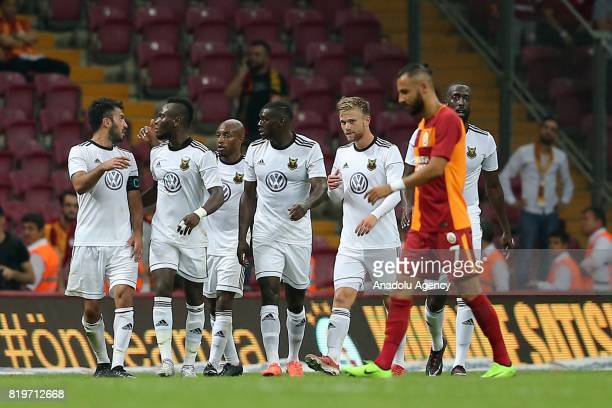 Players of Ostersunds celebrate after the penalty goal during the UEFA Europa League second qualifying round return match between Galatasaray and...