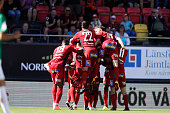 Players of Ostersunds FK celebrates after Alex Dyer of Ostersunds FK scored to 10 during the allsvenskan match between Ostersunds FK and Jonkopings...