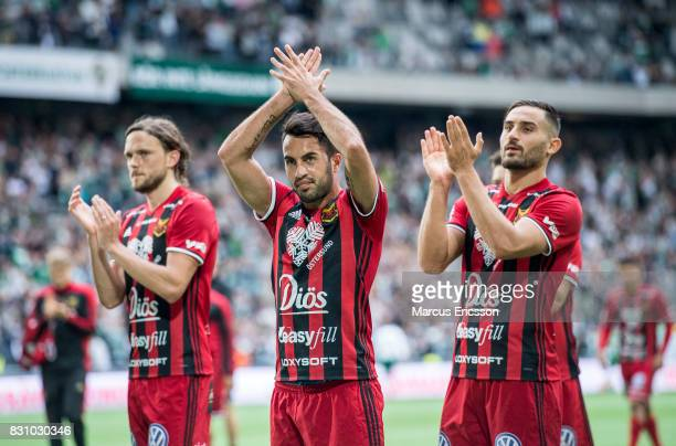 Players of Ostersunds FK celebrates after the victory during the Allsvenskan match between Hammarby IF and Ostersunds FK at Tele2 Arena on August 14...