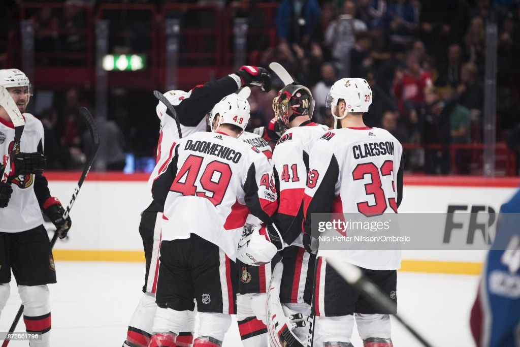 Players of Ottawa Senators celebrates after the victory during the 2017 SAP NHL Global Series match between Ottawa Senators and Colorado Avalanche at Ericsson Globe on November 10, 2017 in Stockholm, .