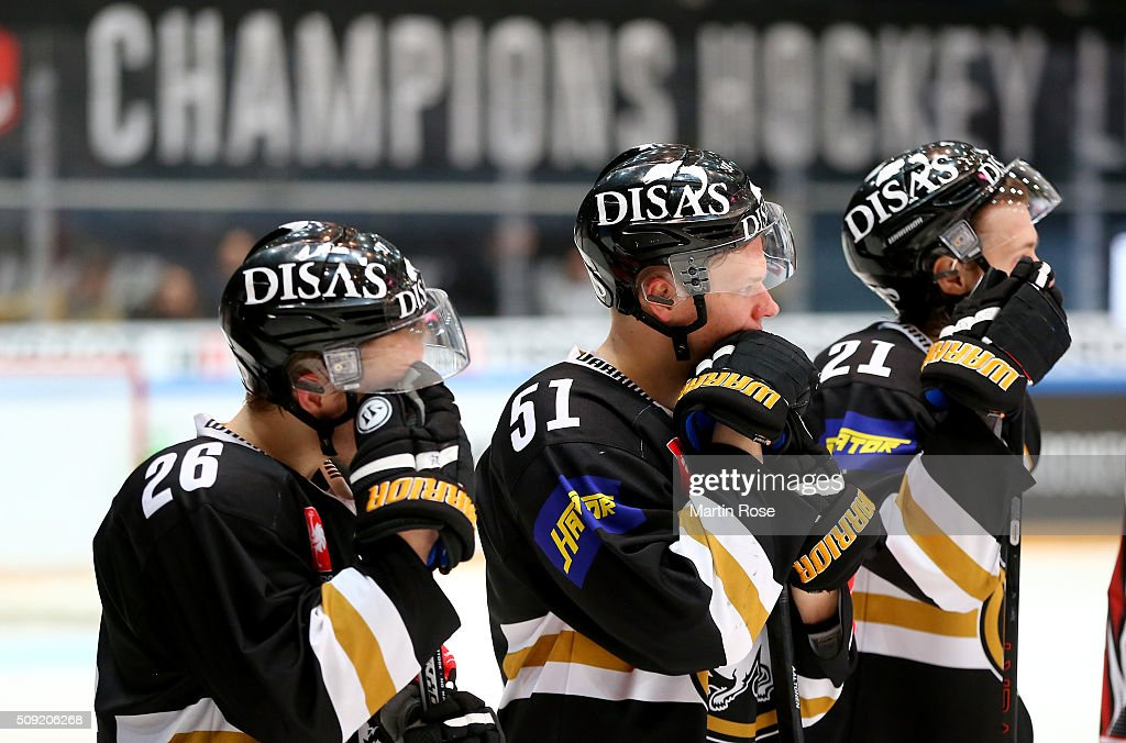 Players of Oulu and look dejected after losing the Champions Hockey League final game between Karpat Oulu and Frolunda Gothenburg at Oulun Energia-Areena on February 9, 2016 in Oulu, Finland.