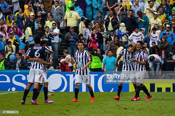 Players of Pachuca celebrate a scored goal during a quarterfinal second leg match between America and Pachuca as part of Clausura 2015 Liga MX at...