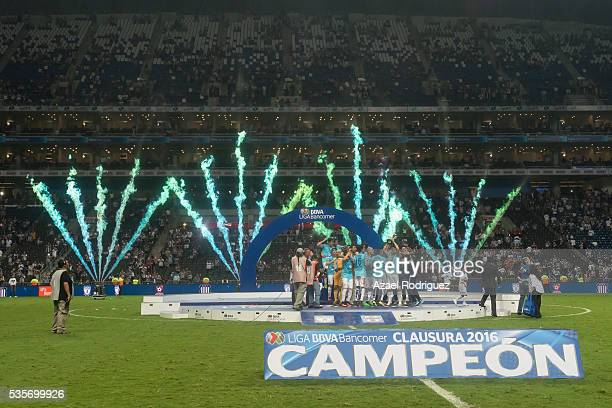 Players of Pachuca celebrate at the end of the Final second leg match between Monterrey and Pachuca as part of the Clausura 2016 Liga MX at BBVA...