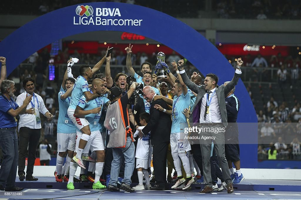 Players of Pachuca celebrate victory with the trophy after winning the Final second leg match of the Clausura 2016 Liga MX against Monterrey, at BBVA Bancomer Stadium, in Monterrey, Mexico on May 29, 2016.