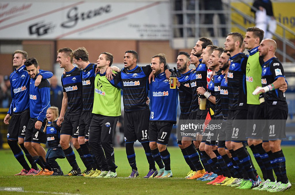 Players of Paderborn celebrate winning the Bundesliga match between SC Paderborn and Hertha BSC at Benteler Arena on November 2 2014 in Paderborn...