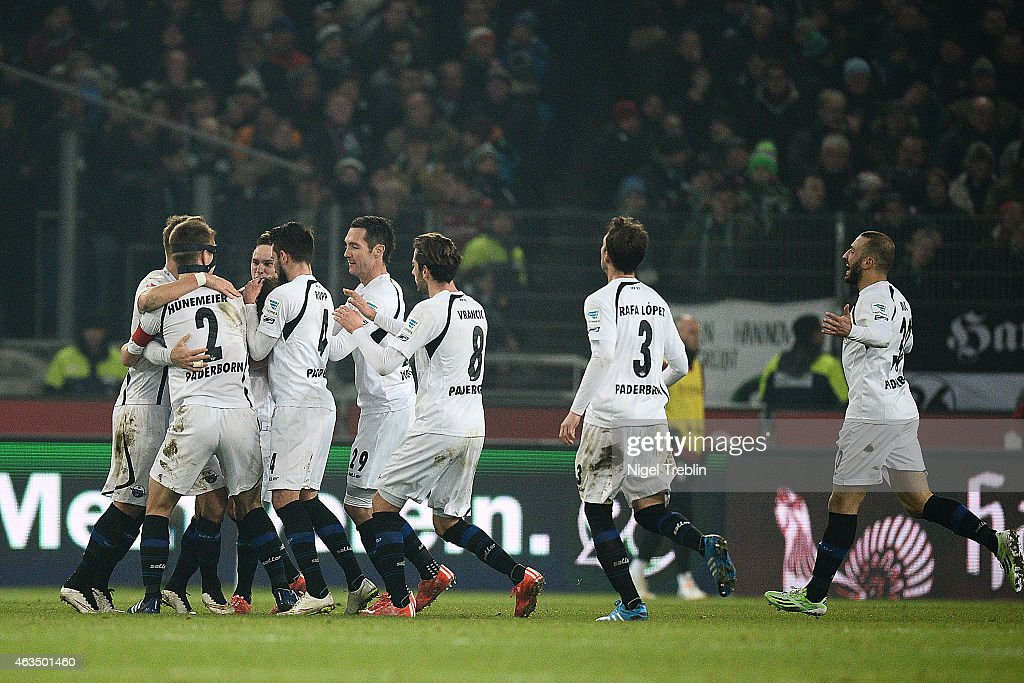Players of Paderborn celebrates scoring their second goal during the Bundesliga match between Hannover 96 and SC Paderborn 07 at HDIArena on February...