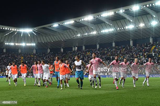 Players of Palermo celebrates after winning the Serie A match between Udinese Calcio and US Citta di Palermo at Stadio Friuli on August 30 2015 in...