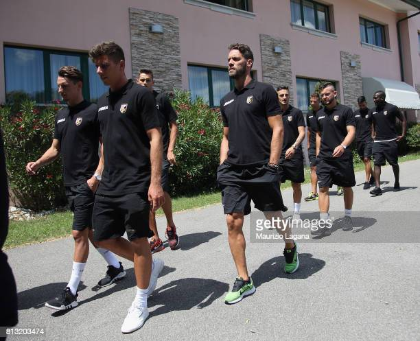 Players of Palermo during preseason trainig camp on July 12 2017 in Gradisca d'Isonzo Italy