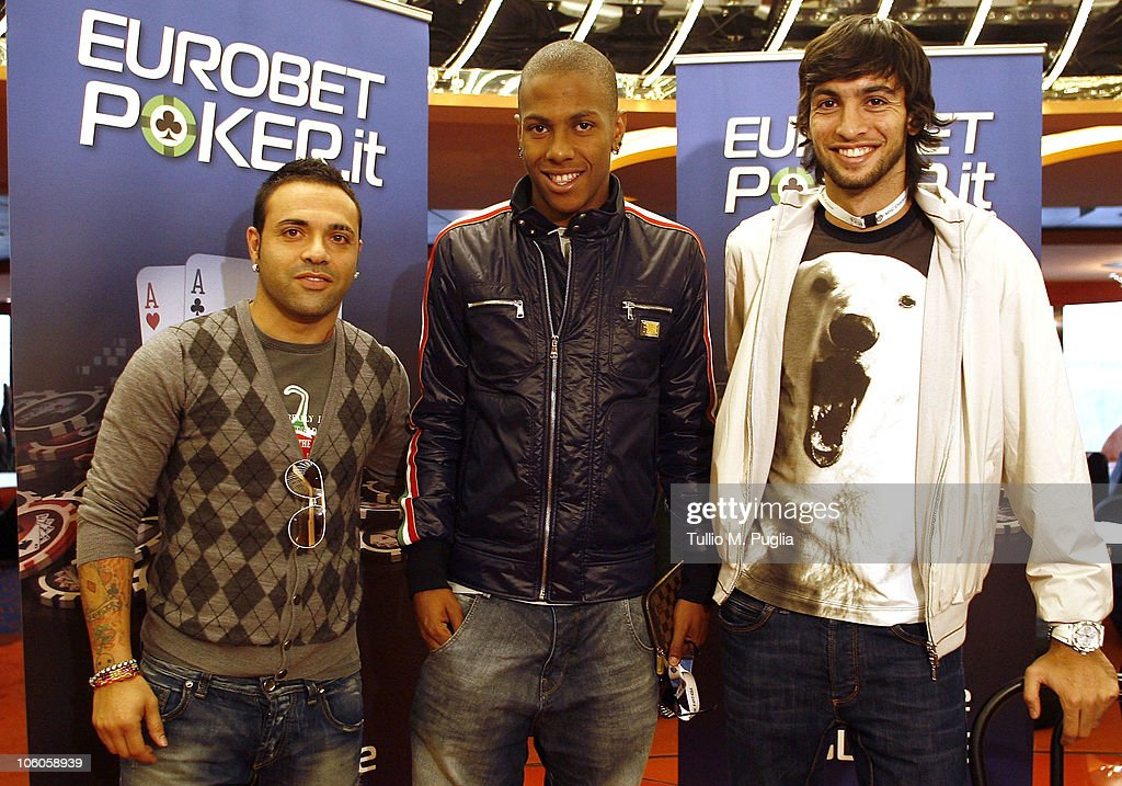 Players of Palermo Fabrizio Miccoli, Abel Hernandez and Javier Pastore attend the ship for the opening tournaments of the Mediterranean Cruise Eurobetpoker on October 26, 2010 in Palermo, Italy. Palermo's sponsors, Eurobet are promoting a 7-day cruise in the Mediterranean offering poker, relaxation and wellness.