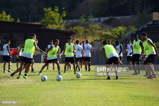 Players of Palermo in action during a training session after the presentation of Giuseppe Bellusci as new player of US Citta' di Palermo at Carmelo...