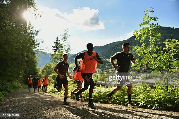 Players of Palermo in action during a training session at US Citta' di Palermo training base on July 18 2016 in Bad Kleinkirchheim Austria