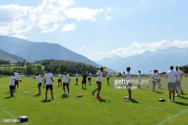 Players of Palermo in action during a US Citta di Palermo preseason training session at Sport Well Center on July 26 2012 in Malles Venosta near...