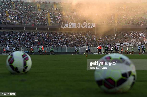 Players of Palermo in action during a US Citta di Palermo training session at Renzo Barbera stadium on August 17 2014 in Storo near Palermo Italy