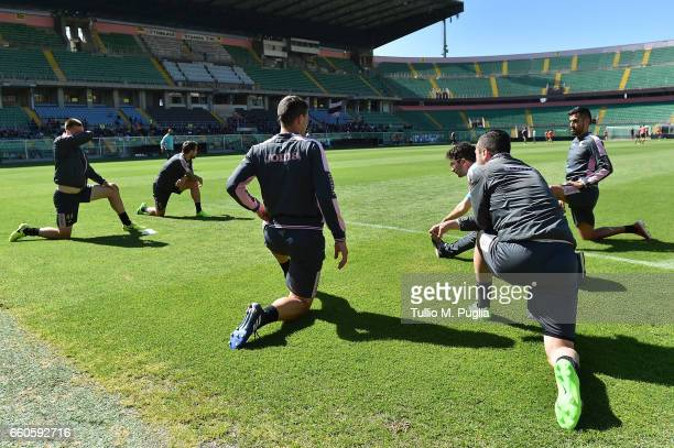 Players of Palermo in action during a US Citta' di Palermo training session at Renzo Barbera Stadium on March 30 2017 in Palermo Italy