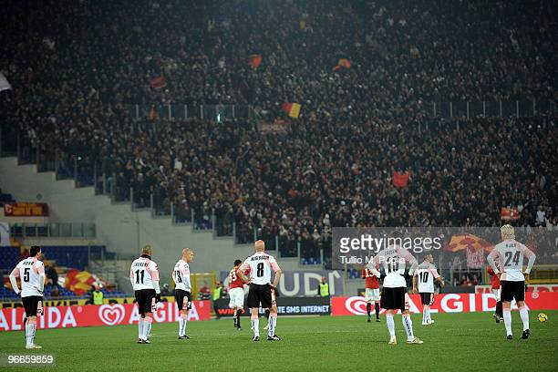 Players of Palermo look dejected after third goal of Roma during the Serie A match between AS Roma and US Citta di Palermo at Stadio Olimpico on...
