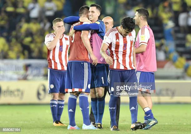Players of Paraguay celebrate after winning a match between Colombia and Paraguay as part of FIFA 2018 World Cup Qualifiers at Metropolitano Roberto...
