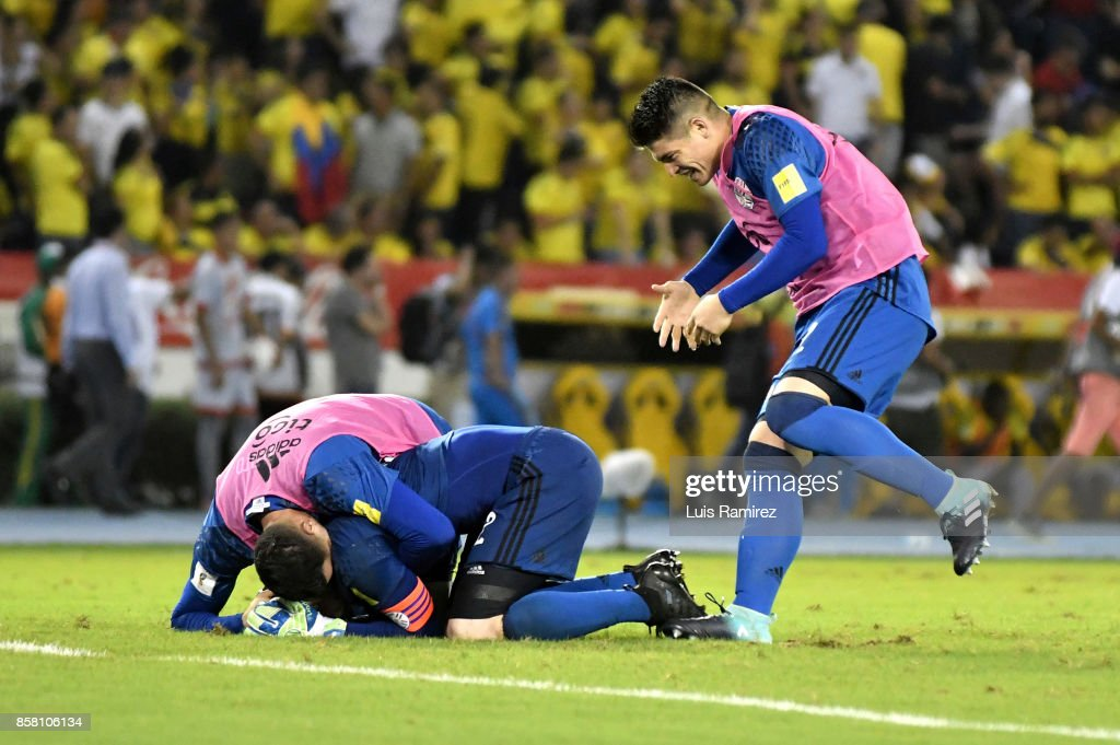 Players of Paraguay celebrate after winning a match between Colombia and Paraguay as part of FIFA 2018 World Cup Qualifiers at Metropolitano Roberto Melendez Stadium on October 5, 2017 in Barranquilla, Colombia.