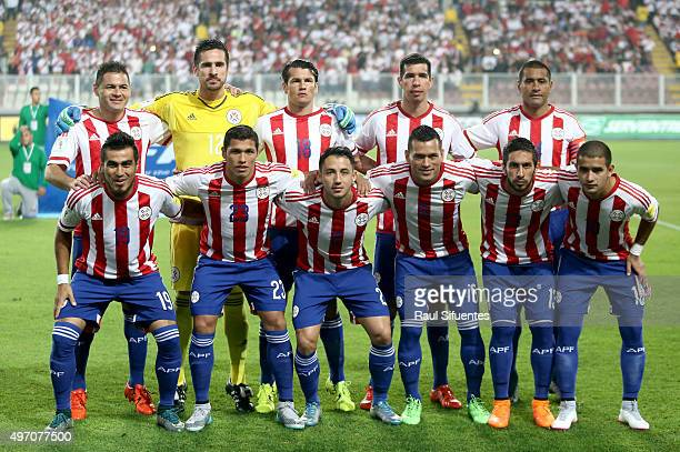Players of Paraguay pose for a group photo prior a match between Peru and Paraguay as part of FIFA 2018 World Cup Qualifiers at Nacional Stadium on...