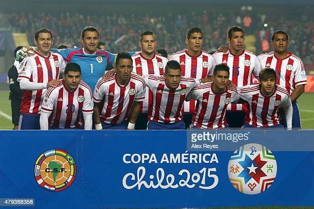 Players of Paraguay pose for a team photo prior to the 2015 Copa America Chile Third Place Playoff match between Peru and Paraguay at Ester Roa...