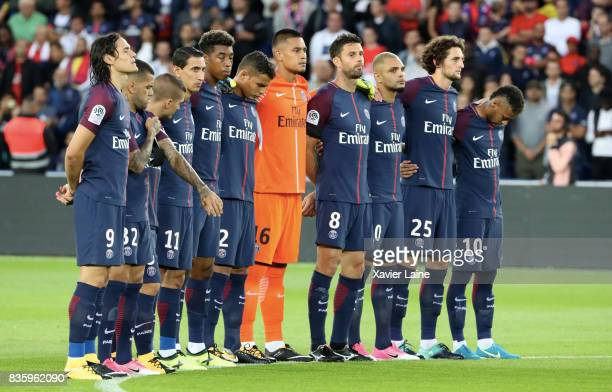 Players of Paris SaintGermain and fans respect one minute of silence for injured and dead of Barcelona attacks before the French Ligue 1 match...