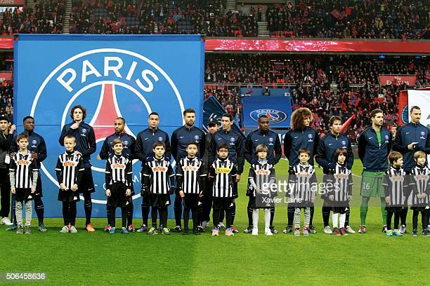 Player's of Paris SaintGermain before the French Ligue 1 between Paris SaintGermain and SCO Angers at Parc Des Princes on january 23 2016 in Paris...