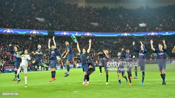 Players of Paris SaintGermain celebrate after the UEFA Champions League round of 16 match against Barcelona at Parc des Princes in Paris France on...