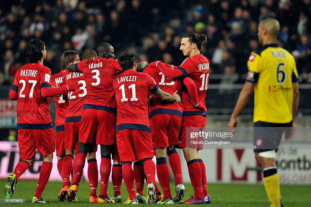 Players of Paris Saint-Germain FC celebrate after scoring the opening goal during the French League 1 football match between FC Sochaux-Montbeliard and Paris Saint-Germain FC at Stade Auguste Bonal on February 17, 2013 in Montbeliard, France.
