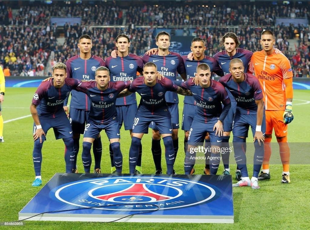 Players of Paris Saint-Germain pose before the UEFA Champions League Group B match between Paris Saint-Germain (PSG) and Bayern Munich at Parc des Princes Stadium in Paris, France on September 27, 2017