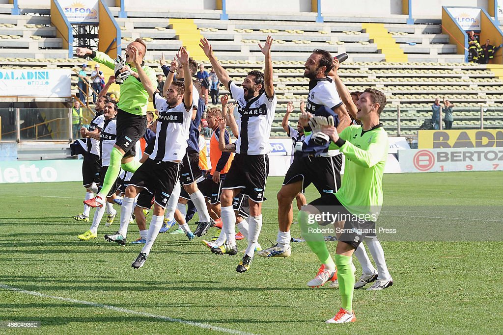 Players of Parma Calcio 1913 celebrate during the Serie D match between Parma Calcio 1913 and Villafranca Veronese at Stadio Ennio Tardini on...