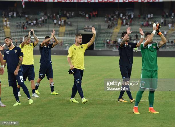Players of Parma Calcio after the TIM Cup match between AS Bari and Parma Calcio at Stadio San Nicola on August 6 2017 in Bari Italy