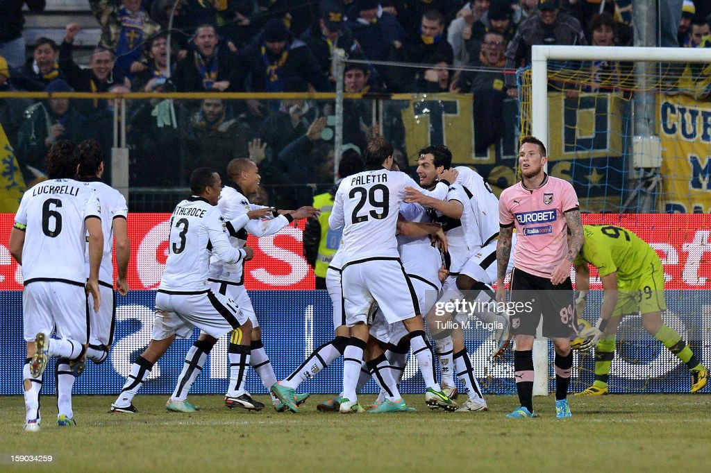 Players of Parma celebrate after Amauri Carvalho de Oliveira scores his team's second goal during the Serie A match between Parma FC and US Citta di Palermo at Stadio Ennio Tardini on January 6, 2013 in Parma, Italy.
