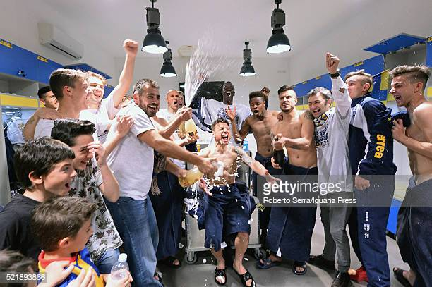 Players of Parma celebrates in the locker room after the Serie D match between Parma Calcio 1913 and Delta Rovigo at Stadio Tardini on April 17 2016...