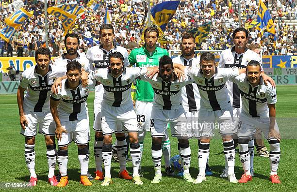 Players of Parma FC line up before the Serie A match between Parma FC and Hellas Verona FC at Stadio Ennio Tardini on May 24 2015 in Parma Italy