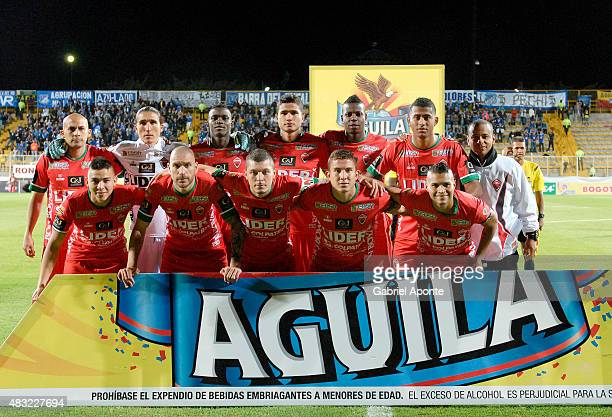 Players of Patriotas pose for photos prior a match between Patriotas FC and Millonarios as part of Liga Aguila II 2015 at Metropolitano de Techo...